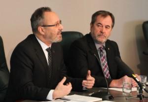 Daniel Boyer, président de la FTQ et Serge Cadieux, secrétaire général de la FTQ. Photo Isabelle Gareau